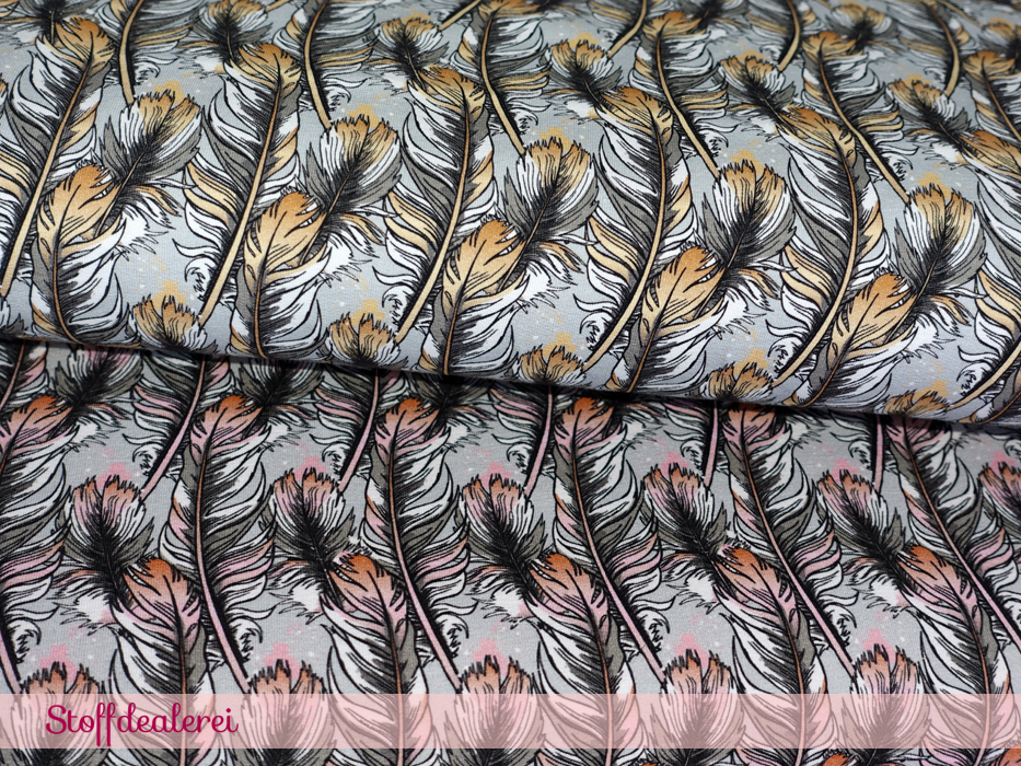 """French Terry """"Magic Feathers"""" beige"""