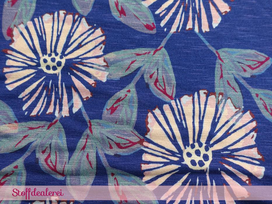 "Viskose-Jersey ""Boho Blooms"" blau"