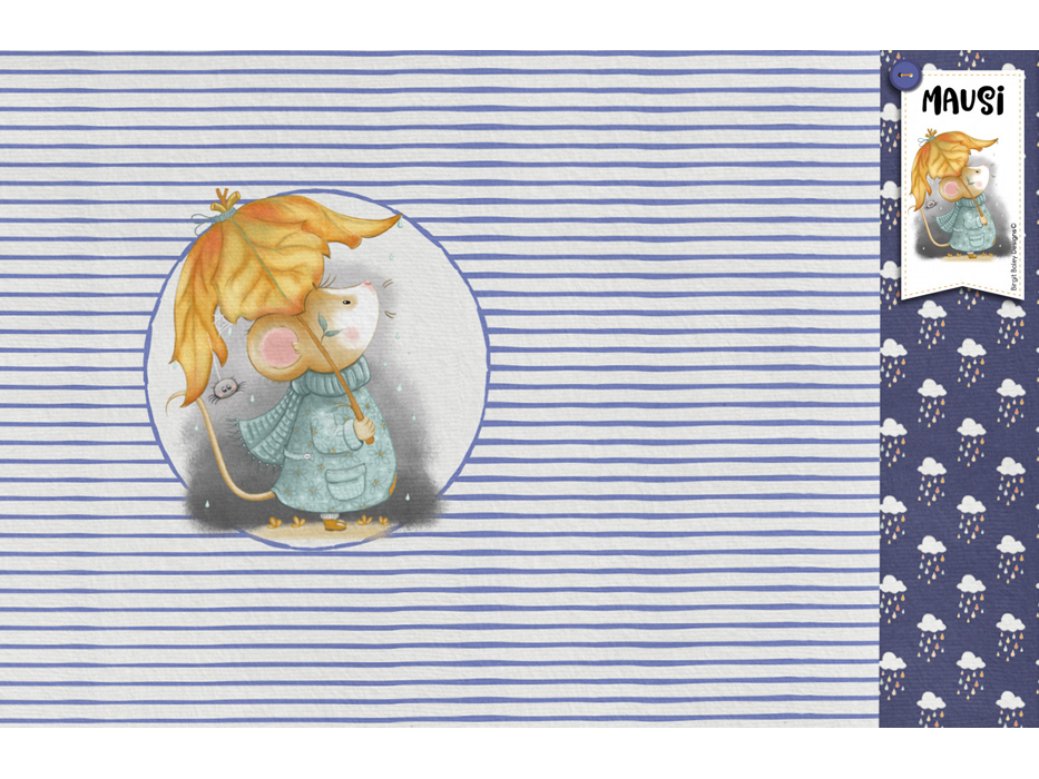 "Stretchjersey ""Mausi"" blau Panel"