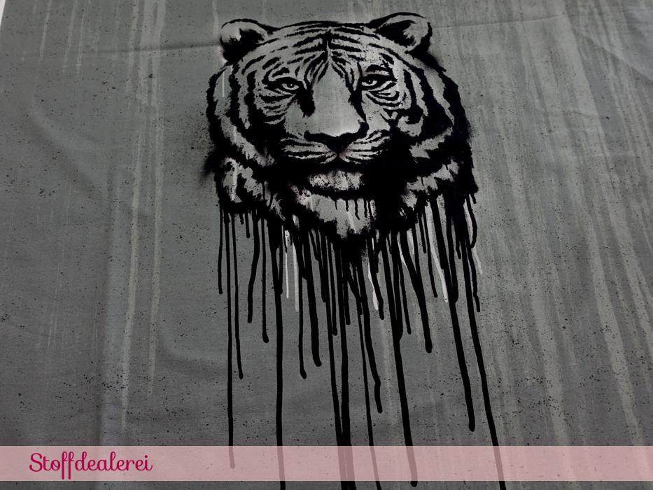 "Stretchjersey ""Urban Jungle – Wild Tiger"" Panel grau by Thorsten Berger"