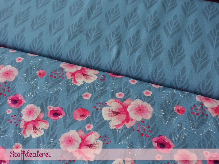 """Stretchjersey """"Blumenfrische"""" blau"""