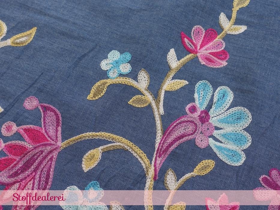 """Jeans """"Blumenranken"""" Bordürenstickerei pink"""
