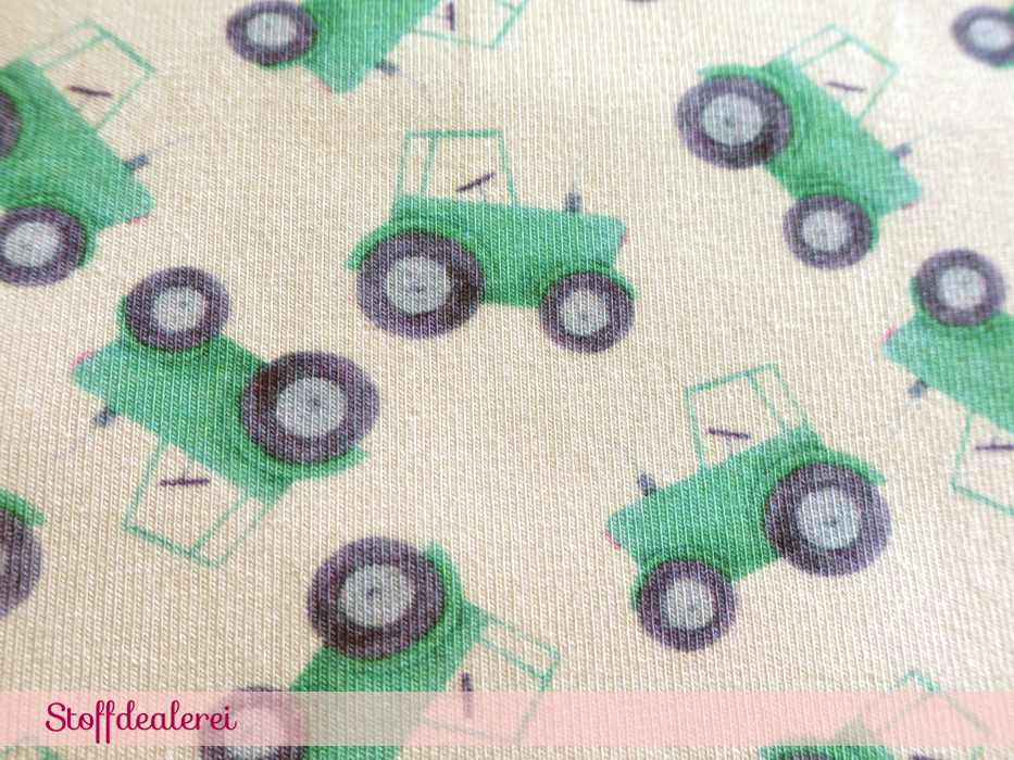 "Stretchjersey ""Mini Traktoren"" grün"