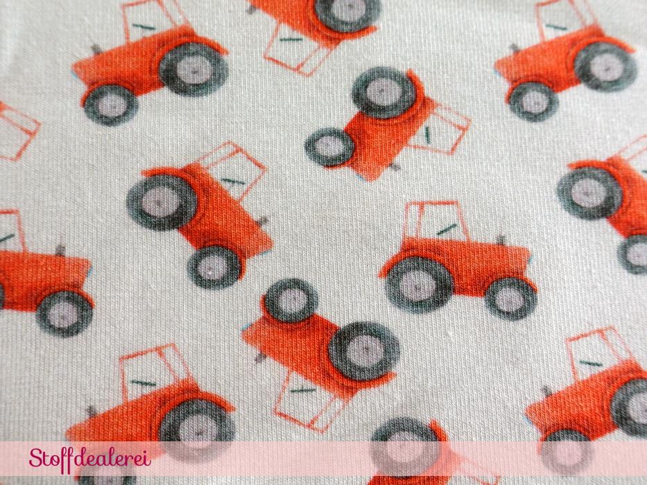 "Stretchjersey ""Mini Traktoren"" rot"