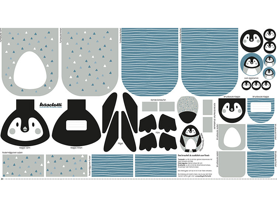 "Baumwolldruck ""Tierbeutel"" Pinguin Panel"