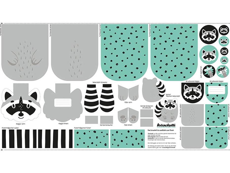 """Baumwolldruck """"Tierbeutel"""" Waschbär Panel"""