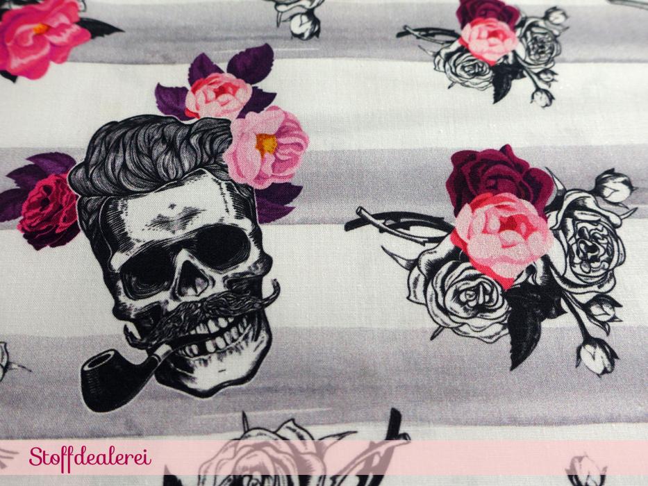 "Baumwoll-Webware ""Skull Roses"""
