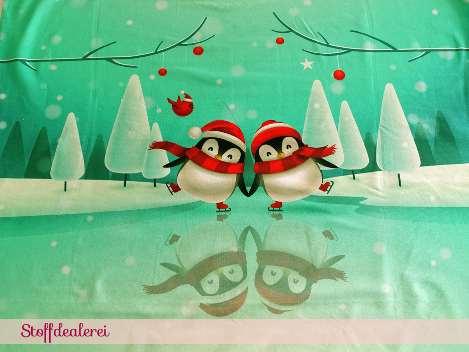 """French Terry """"Christmas Penguins"""" Panel"""
