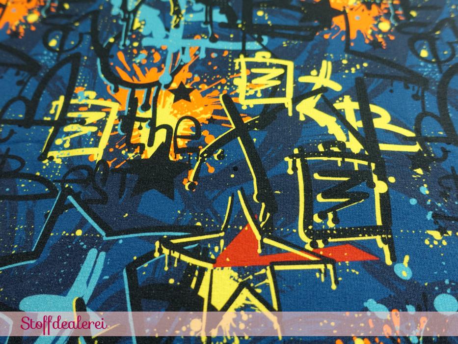 "French Terry ""Grafitti Schrift"" petrol"