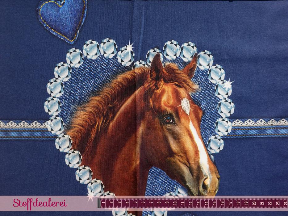 "French Terry ""Glitters & Horses"" Panel blau"
