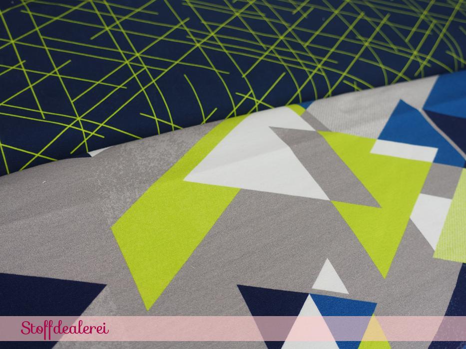 "French Terry ""Streetstyle – Dreiecke"" grün"