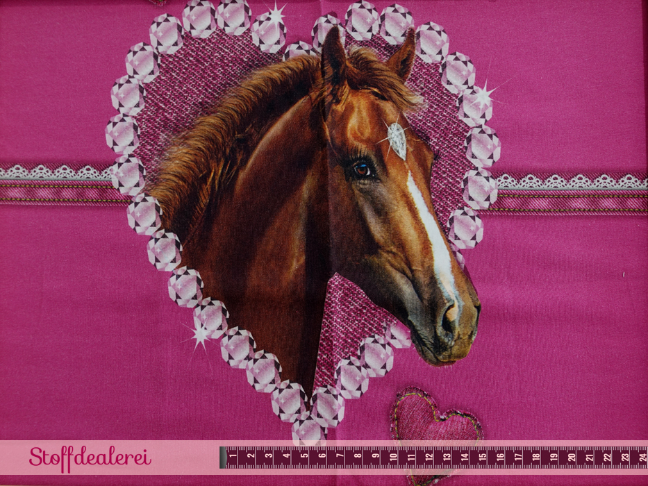 """French Terry """"Glitters & Horses"""" Panel beere"""